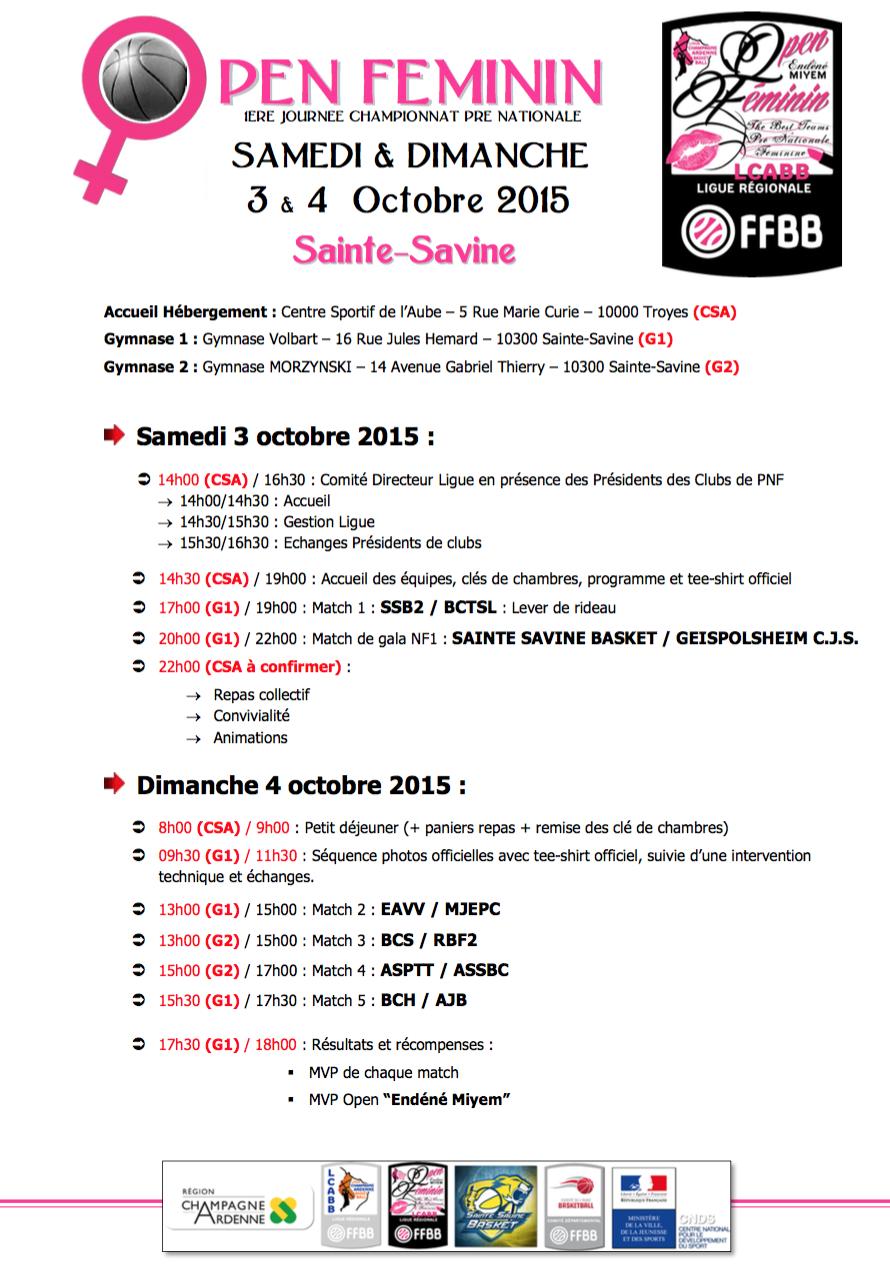 programme Open Féminin 2015